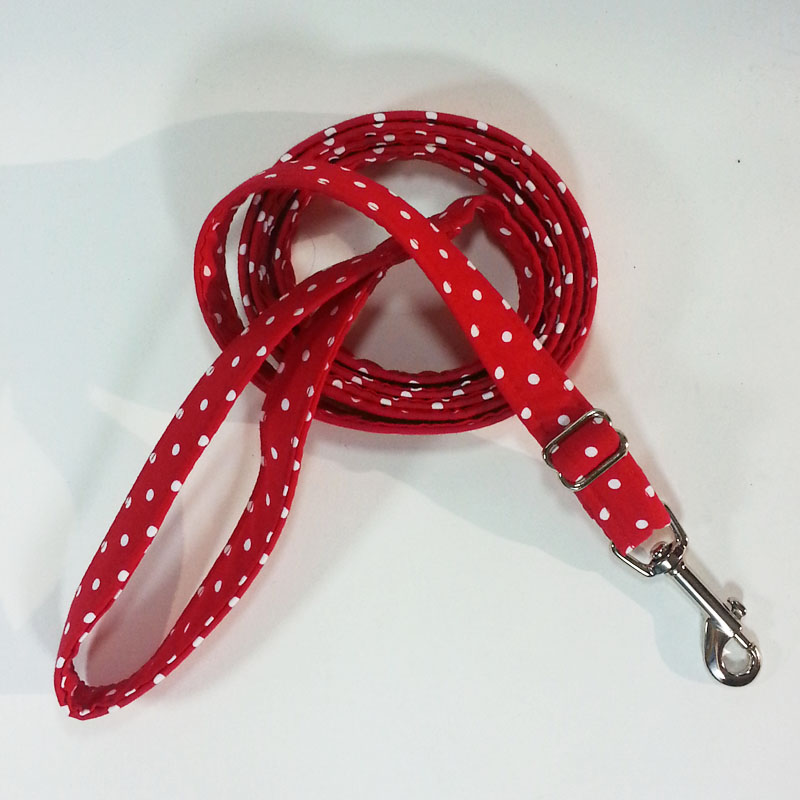 Red White Dot Adjustable Leash