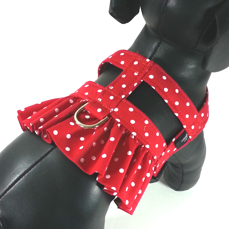 Red White Dot Selfie Ruffle Harness