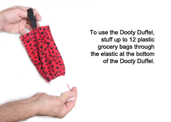 use dooty duffel to carry bags for your dog's pick ups